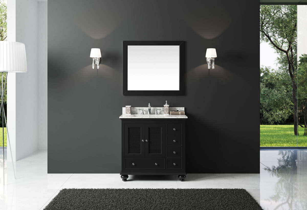 """Exclusive Heritage 36"""" Single Sink Bathroom Vanity in Espresso with White Carrera Marble Top and Mirror Set"""