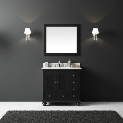 "Exclusive Heritage 36"" Single Sink Bathroom Vanity in Espresso with White Carrera Marble Top and Mirror Set"