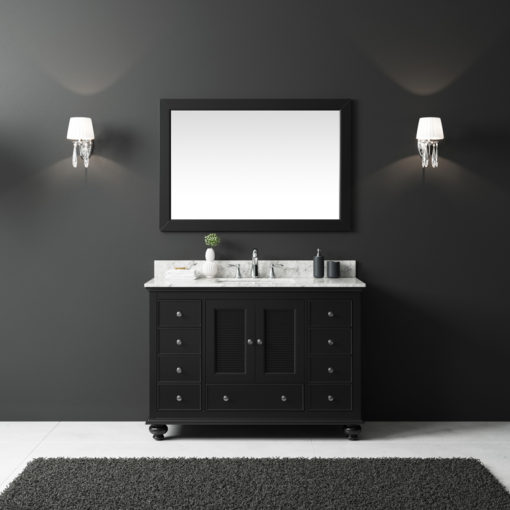 "Exclusive Heritage 48"" Single Sink Bathroom Vanity in Espresso with White Carrera Marble Top and Mirror Set"