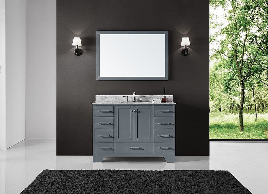 inch single contemporary legion sink vanity set bathroom finish white