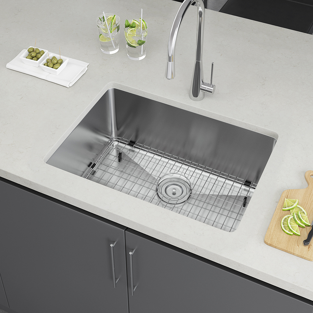 Exclusive heritage 25″ x 18″ single bowl undermount stainless steel kitchen sink with strainer and grid ksh 2518 s ubsg exclusive heritage usa