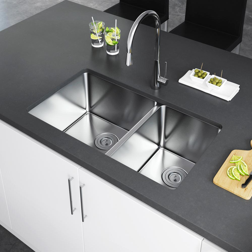 ... Undermount Stainless Steel Kitchen Sink With Strainer KSH 3219 D6 UBS.  KSH 3219 D6 UBS_image2 ...