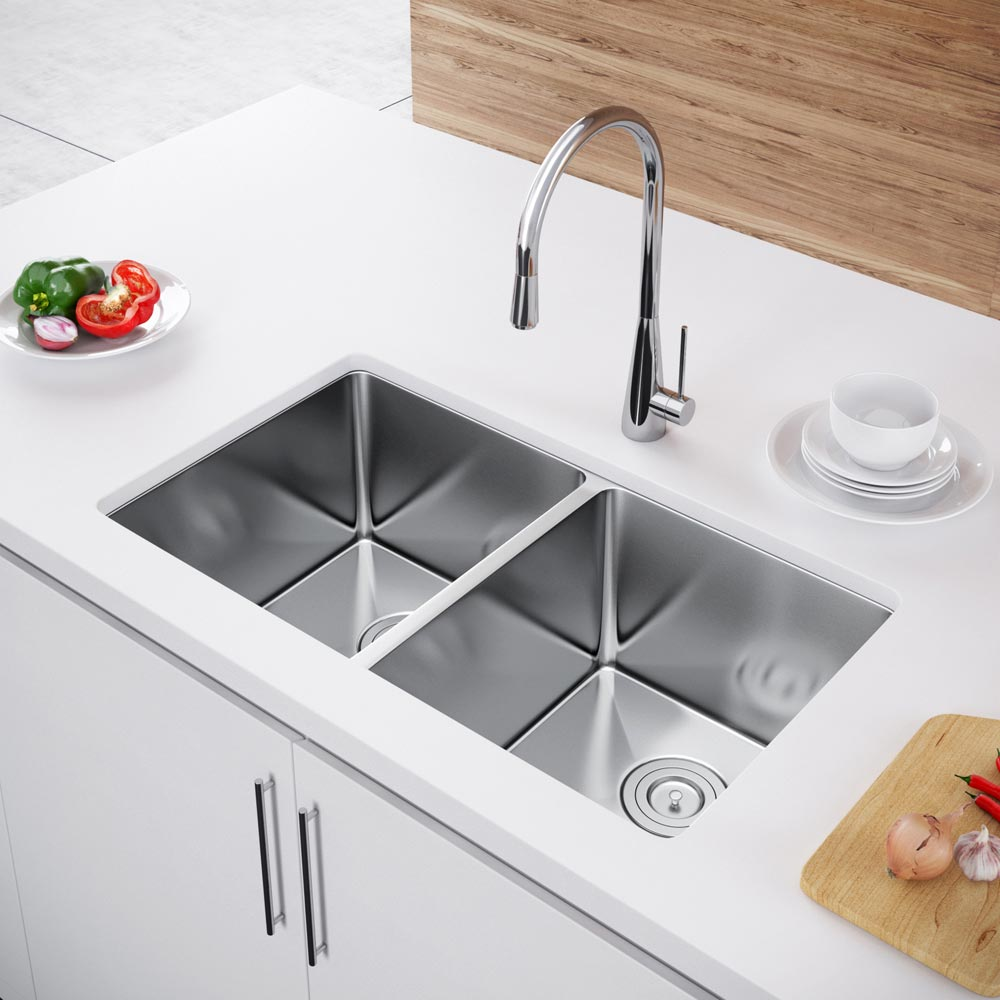 Undermount Kitchen Sink With Drainer Exclusive Heritage 33″ X 20″ Double Bowl 5050 Undermount