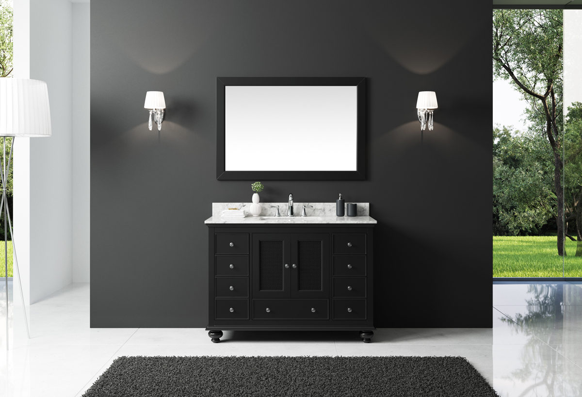 """Exclusive Heritage 48"""" Single Sink Bathroom Vanity in Espresso with White Carrera Marble Top and Mirror Set"""
