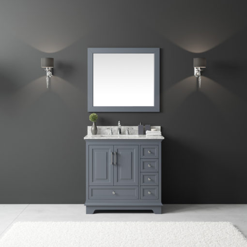 Exclusive Heritage 36 Single Sink Bathroom Vanity In Cashmere Grey With White Carrera Marble Top And Mirror Set Bv 20036s Wmcg