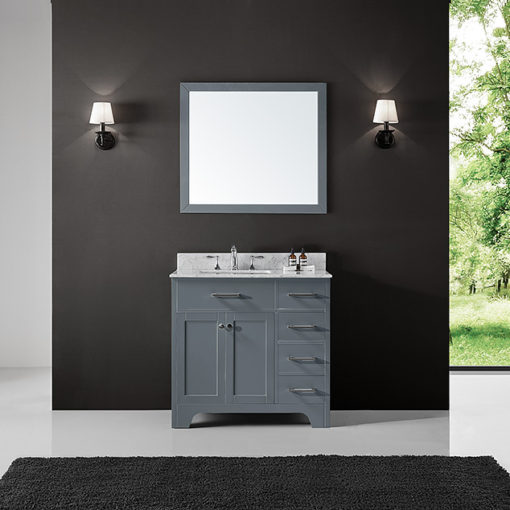 Exclusive Heritage Clariette 36 Single Sink Bathroom Vanity In Cashmere Grey With White Carrara Marble Top Basin And Mirror Set Cl 10036s Wmcg