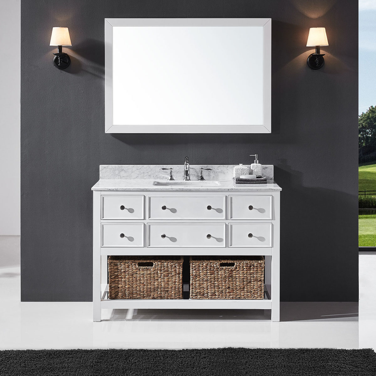 Exclusive Heritage Elodie 48 Single Sink Bathroom Vanity In White With White Carrara Marble Top Basin And Mirror Set Ed 10048s Wmwh Exclusive Heritage Usa