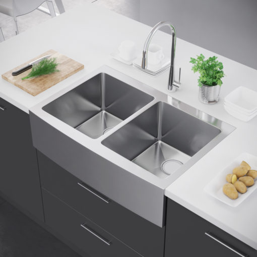 Exclusive heritage 33″ x 22″ double bowl 50 50 stainless steel kitchen farmhouse apron front sink ksh 3322 d5 fb
