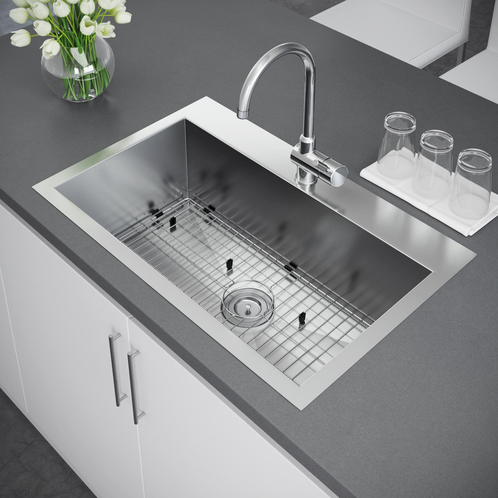 Top Mount Sink Kitchen: Exclusive Heritage 33″ X 22″ Single Bowl Topmount